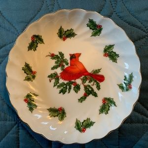 1950s LEFTON CARDINALS HOLLY CHRISTMAS DISH #02966